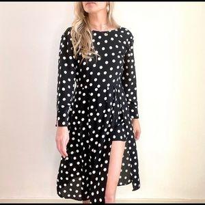 Zara Black Polka Dot High Slit Midi Dress